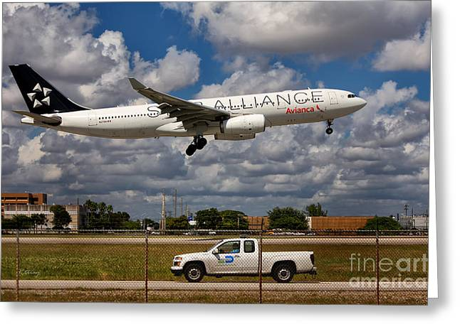 Star Alliance Airline Photographs Greeting Cards - Avianca A-330 Airbus  Greeting Card by Rene Triay Photography