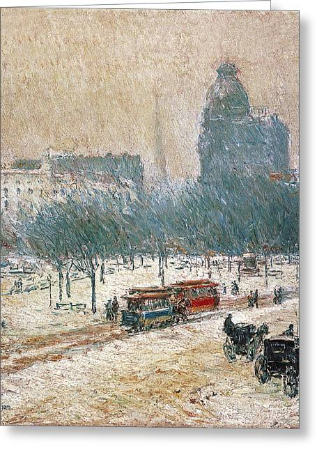 Cars In Winter Greeting Cards - Winter in Union Square Greeting Card by Childe Hassam