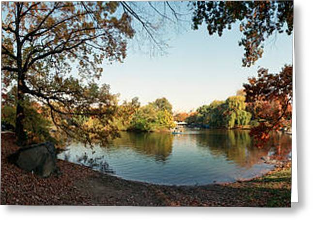 Fallen Leaf Greeting Cards - 360 Degree View Of An Urban Park Greeting Card by Panoramic Images