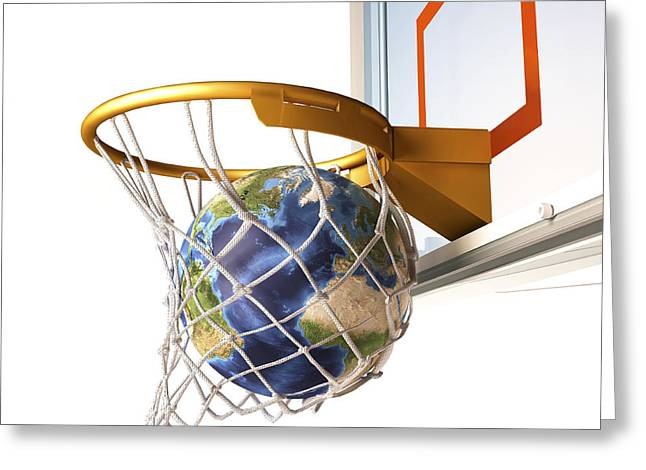 Shooting Hoops Greeting Cards - 3d Rendering Of Planet Earth Falling Greeting Card by Leonello Calvetti