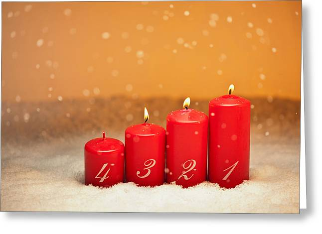 Candle Lit Greeting Cards - 3rd Advent Greeting Card by Ulrich Schade