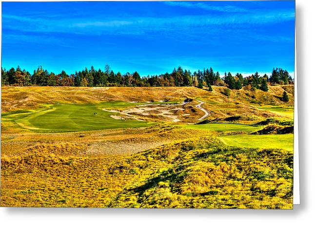Chambers Bay Golf Course Greeting Cards - #4 at Chambers Bay Golf Course - Location of the 2015 U.S. Open Championship Greeting Card by David Patterson