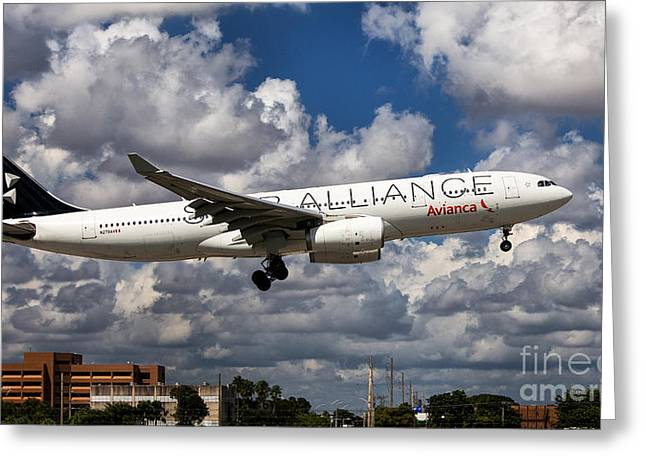 Star Alliance Airline Photographs Greeting Cards - Airbus A-330 Avianca Airlines Greeting Card by Rene Triay Photography