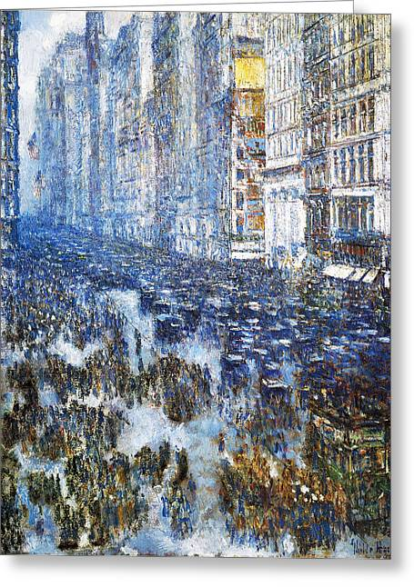 New York Evening Post Greeting Cards - Fifth Avenue Greeting Card by Childe Hassam