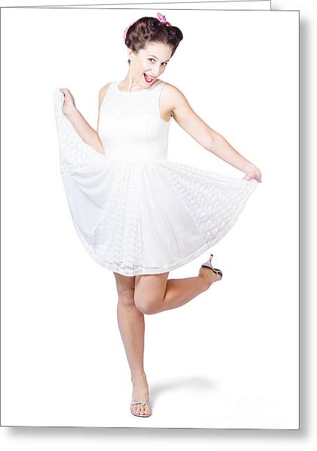 Full Skirt Greeting Cards - 50s Pinup Woman In White Dress Dancing Greeting Card by Ryan Jorgensen