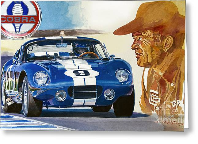 Auto Racing Greeting Cards - 64 Cobra Daytona Coupe Greeting Card by David Lloyd Glover