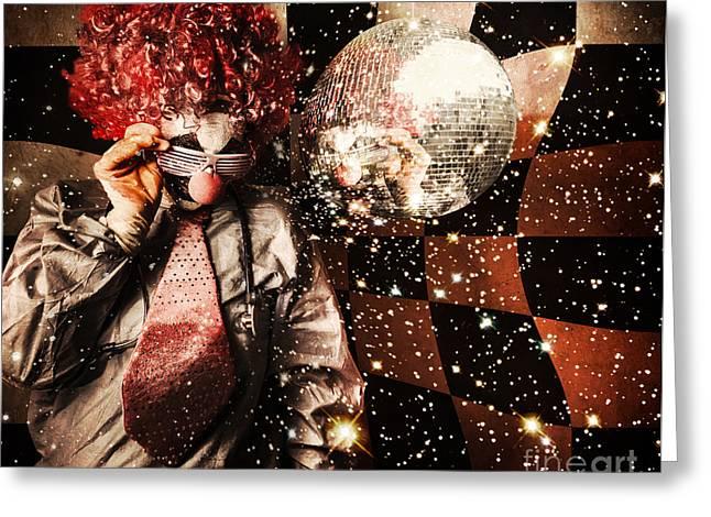 1970s Fashion Greeting Cards - 70s DJ clown spinning a nightclub turntable Greeting Card by Ryan Jorgensen