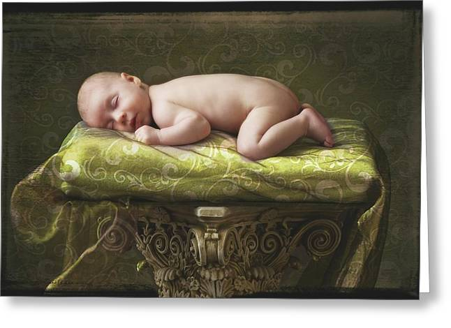 2-3 Years Greeting Cards - A Baby Asleep On A Pillar Greeting Card by Pete Stec
