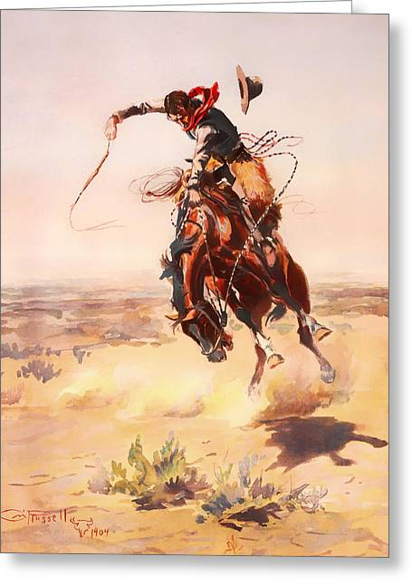Broncos Paintings Greeting Cards - A Bad Hoss Greeting Card by Charles Russell