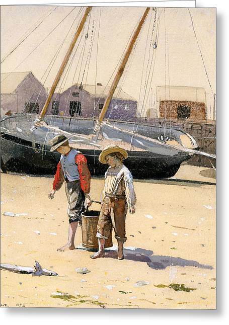 Winslow Homer Drawings Greeting Cards - A Basket of Clams Greeting Card by Winslow Homer