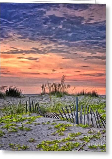 Sand Fences Greeting Cards - A Beach Sunset Greeting Card by Brian Mollenkopf