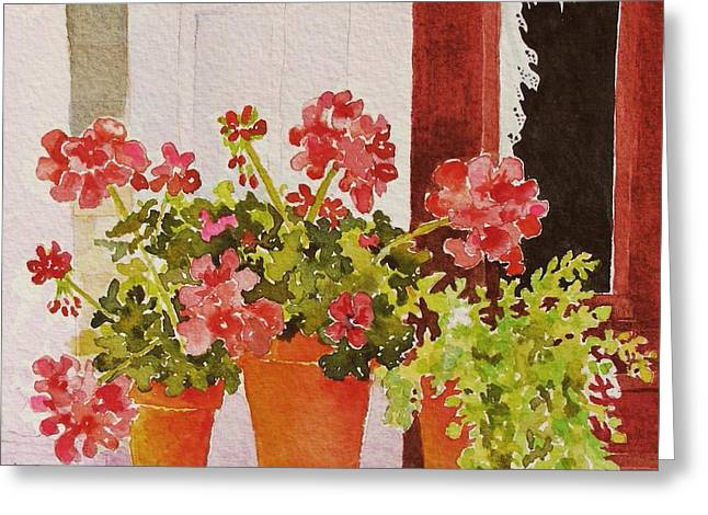 Red Geraniums Greeting Cards - A Bit of Summer Greeting Card by Mary Ellen  Mueller Legault