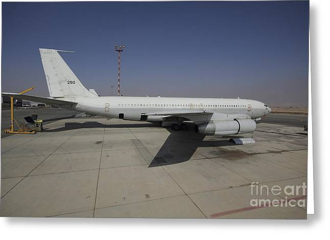 Foreign Military Greeting Cards - A Boeing 707 Reem Of The Israeli Air Greeting Card by Ofer Zidon