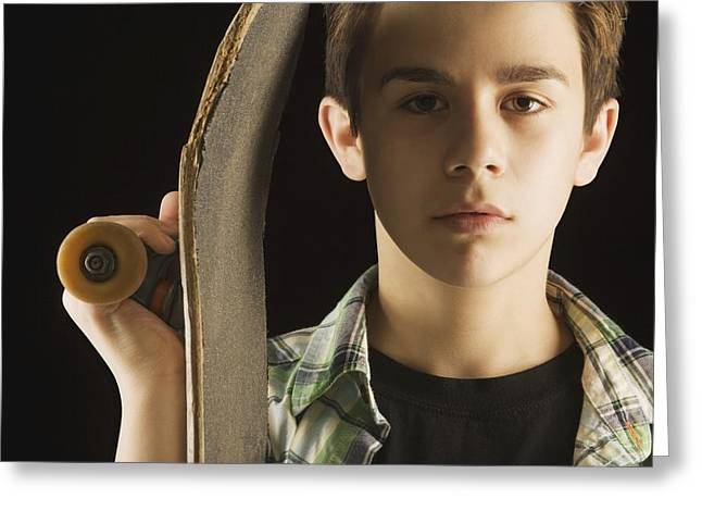 Adult And Child Greeting Cards - A Boy With A Skateboard Greeting Card by Darren Greenwood