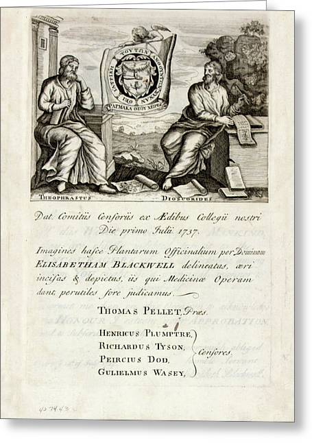 A Curious Herbal (1737) Greeting Card by National Library Of Medicine