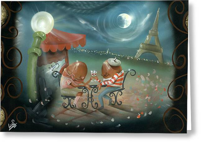 Dunking Paintings Greeting Cards - A Date in Paris Greeting Card by Luis  Navarro