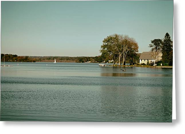 Sailboat Photos Greeting Cards - A Day on Bantam Lake Greeting Card by Mountain Dreams