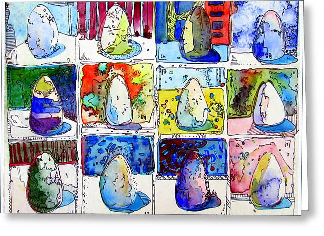 Eggs Mixed Media Greeting Cards - A Dozen Eggs Greeting Card by Mindy Newman