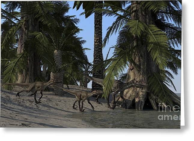Dromaeosaurid Greeting Cards - A Family Of Utahraptors Greeting Card by Kostyantyn Ivanyshen