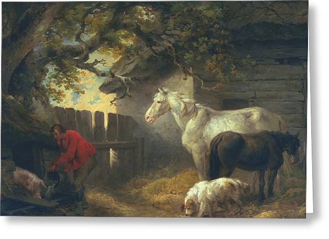 Working Dog Greeting Cards - A farmyard Greeting Card by George Morland