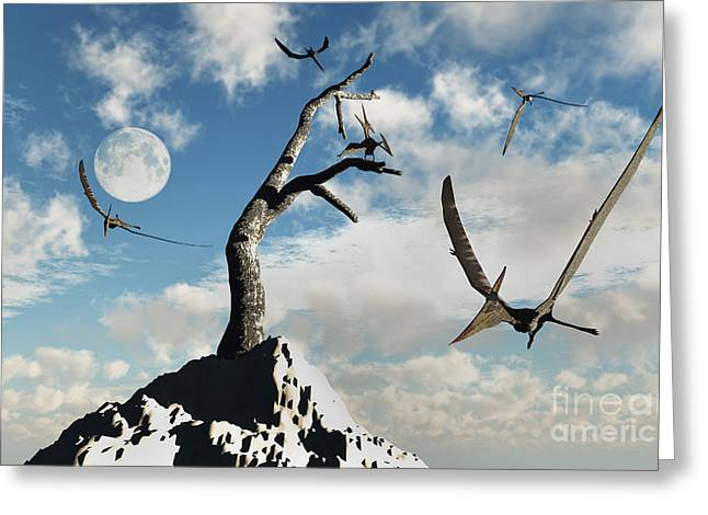Branch Hill Greeting Cards - A Flock Of Pteranodons Flying Greeting Card by Mark Stevenson