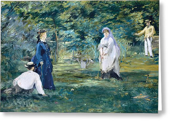Croquet Greeting Cards - A Game of Croquet Greeting Card by Edouard Manet