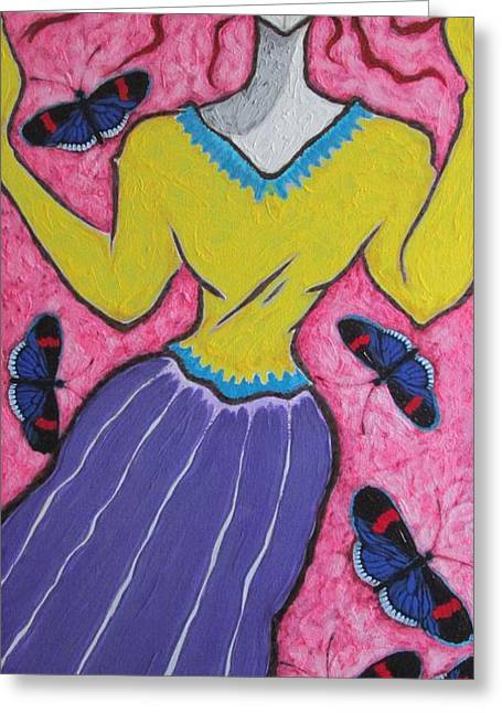 Yellow Sweater Greeting Cards - A Girl And Butterflies Vii Greeting Card by Shivayogi Mogali
