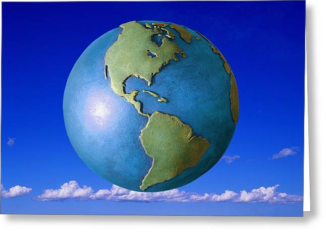Visual Metaphor Greeting Cards - A Globe In The Sky Greeting Card by Don Hammond