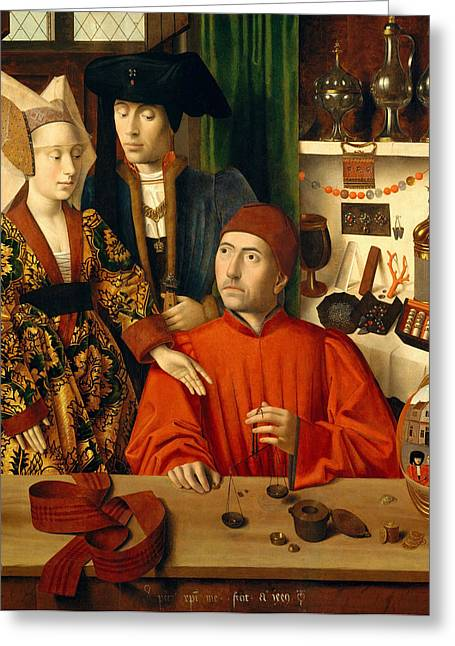 Christus Greeting Cards - A Goldsmith in his Shop Greeting Card by Petrus Christus