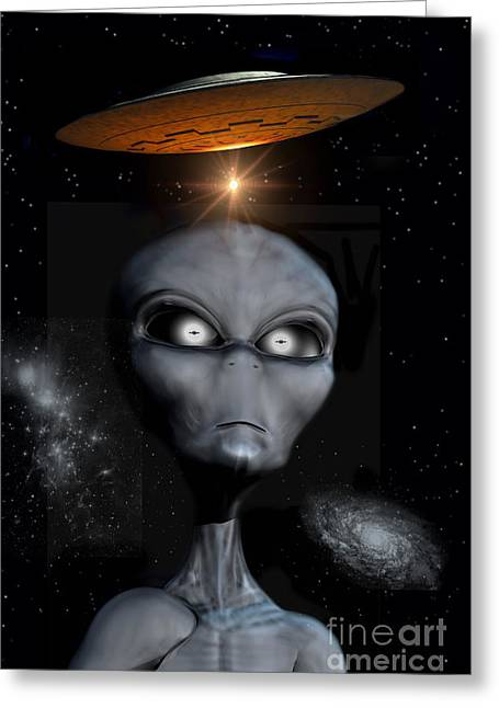 Fantasy Creature Digital Greeting Cards - A Grey Alien Greeting Card by Mark Stevenson