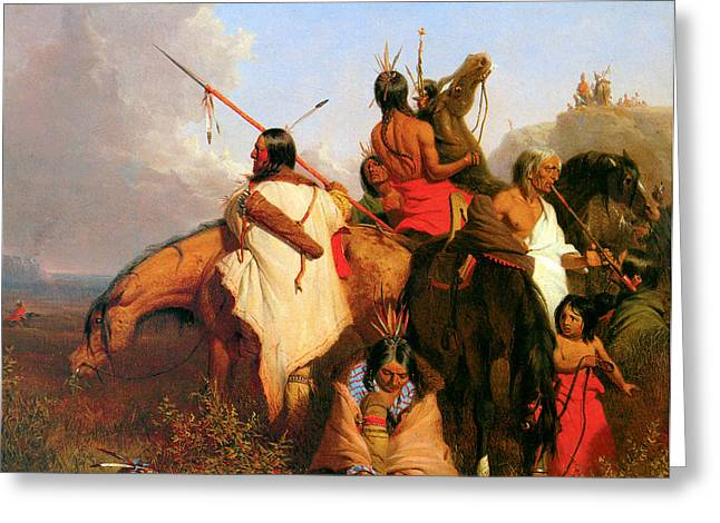 Chief Red Cloud Greeting Cards - A Group of Sioux Greeting Card by Charles Deas