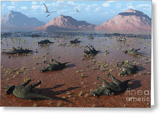 Misfortune Greeting Cards - A Herd Of Dead Centrosaurus Dinosaurs Greeting Card by Mark Stevenson