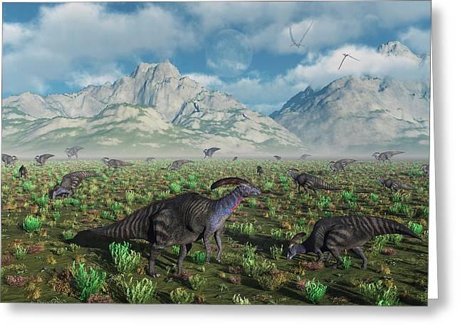 A Herd Of Parasaurolophus Duckbill Greeting Card by Mark Stevenson