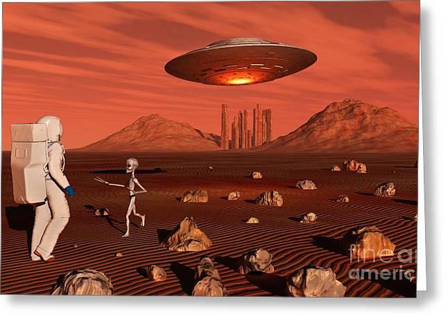 Arid Life Digital Art Greeting Cards - A Human Astronaut Making Contact Greeting Card by Mark Stevenson