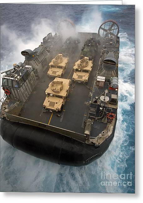 Getting Air Greeting Cards - A Landing Craft Air Cushion Exits Greeting Card by Stocktrek Images