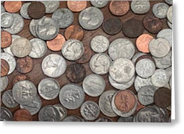 Loose Greeting Cards - A large pile of coins Greeting Card by Amy Cicconi