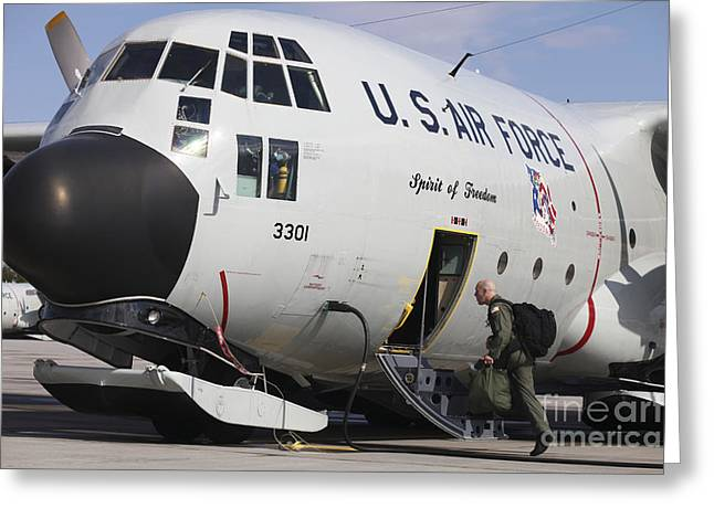 Us Open Photographs Greeting Cards - A Lc-130h Hercules Of The New York Air Greeting Card by Timm Ziegenthaler