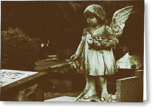 Watching Over Greeting Cards - A Little Angel Watching Over Greeting Card by Mountain Dreams