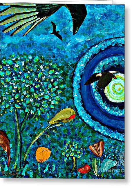 Edge Mixed Media Greeting Cards - A Little Garden at the Edge of the World Greeting Card by Sarah Loft