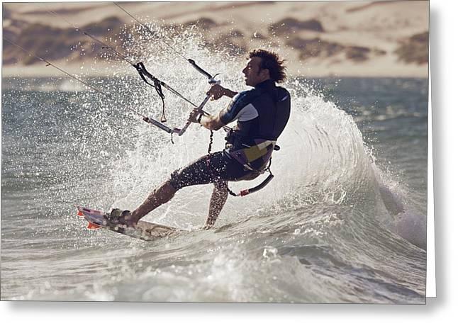 Tarifa Greeting Cards - A Man Kitesurfing Tarifa, Cadiz Greeting Card by Ben Welsh