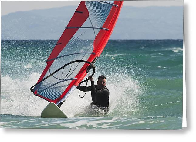 50-59 Years Greeting Cards - A Man Windsurfing Tarifa, Cadiz Greeting Card by Ben Welsh