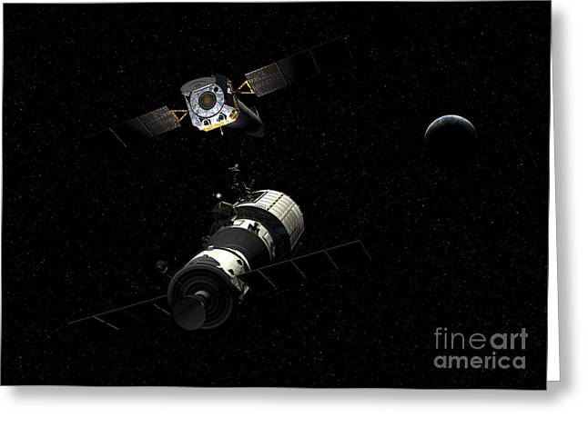 Maintenance Facility Greeting Cards - A Manned Orbital Maintenance Platform Greeting Card by Walter Myers