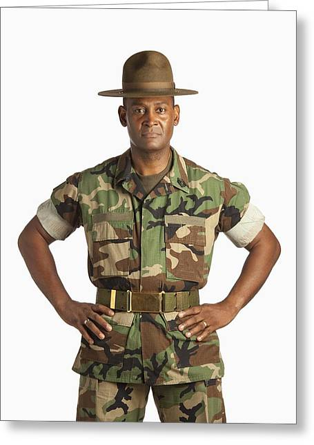 Black Ancestry Greeting Cards - A Military Man Greeting Card by Ron Nickel