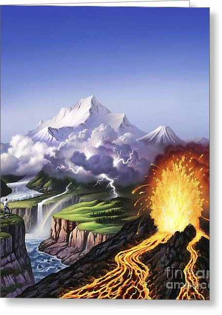 Images Lightning Digital Art Greeting Cards - A Montage Of Earths Features Including Greeting Card by Jerry LoFaro