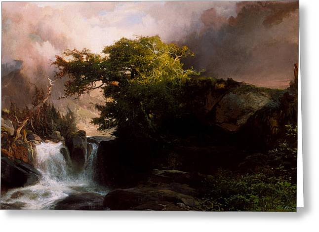 Rapid Paintings Greeting Cards - A Mountain Stream Greeting Card by Thomas Moran