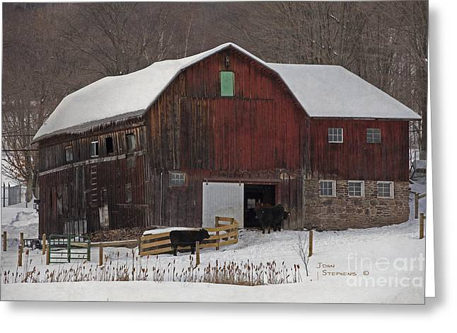 Red Roofed Barn Greeting Cards - A New Fence For The Cows Greeting Card by John Stephens