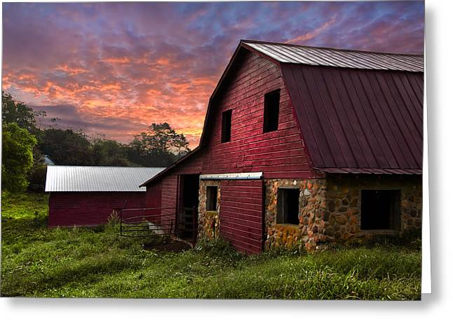 Red Roofed Barn Greeting Cards - A New Start Greeting Card by Debra and Dave Vanderlaan
