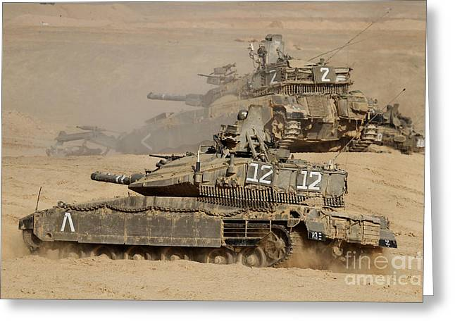 Foreign Military Greeting Cards - A Pair Of Israel Defense Force Merkava Greeting Card by Ofer Zidon
