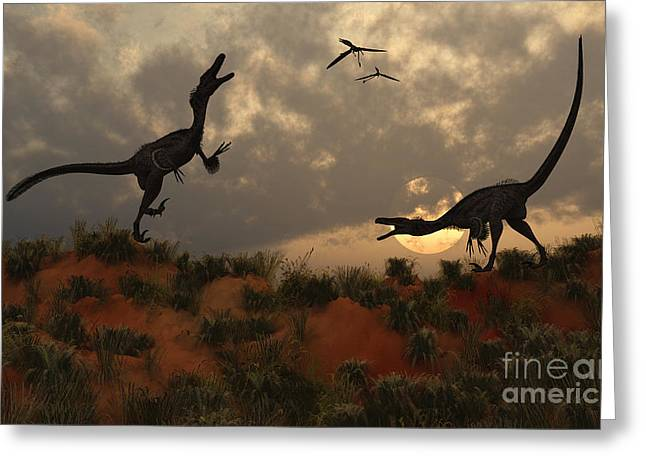 Four Animal Faces Greeting Cards - A Pair Of Velociraptors Involved Greeting Card by Mark Stevenson