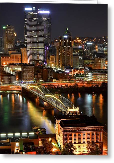 Nightscapes Greeting Cards - A Pittsburgh Night Greeting Card by Frozen in Time Fine Art Photography